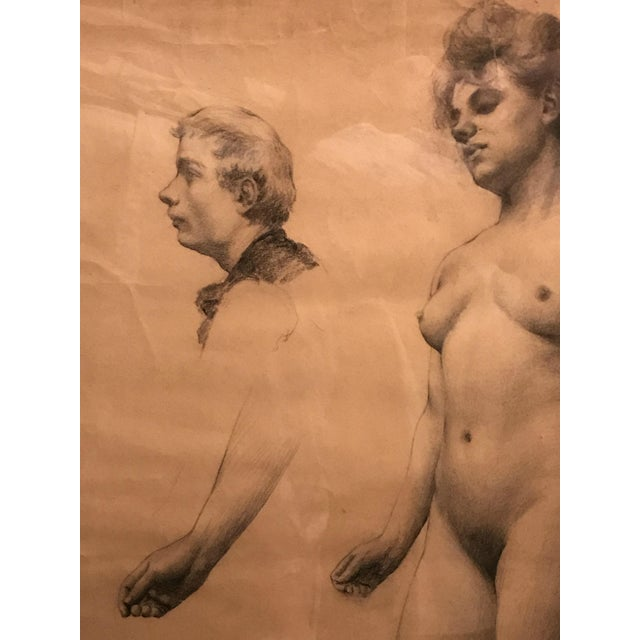 Classical French Female Nude Study Drawing, Late 19th Century For Sale - Image 4 of 7
