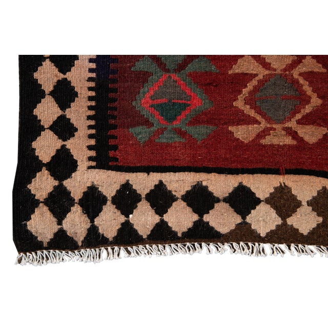 "Red Mid-20th Century Vintage Kilim Runner Rug 5' 1"" X 12' 2''. For Sale - Image 8 of 13"
