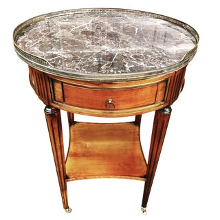 1940s French De Bournay Marble Top Bouillotte Table on Casters For Sale