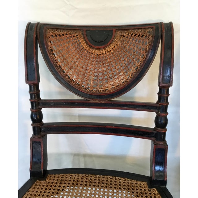 Black Set of 8 French Cane Dining Chairs Circa 1840 - Two Arm & Six Side Chairs For Sale - Image 8 of 13