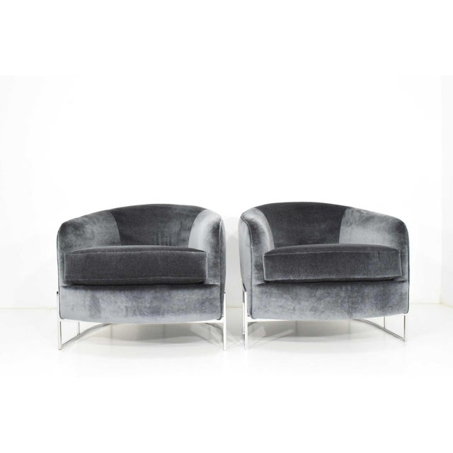 Contemporary Milo Baughman Gray Velvet Club Chairs - a Pair For Sale - Image 3 of 8