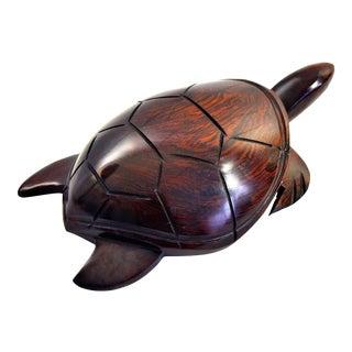 Vintage Hand Carved Rosewood Sea Turtle For Sale