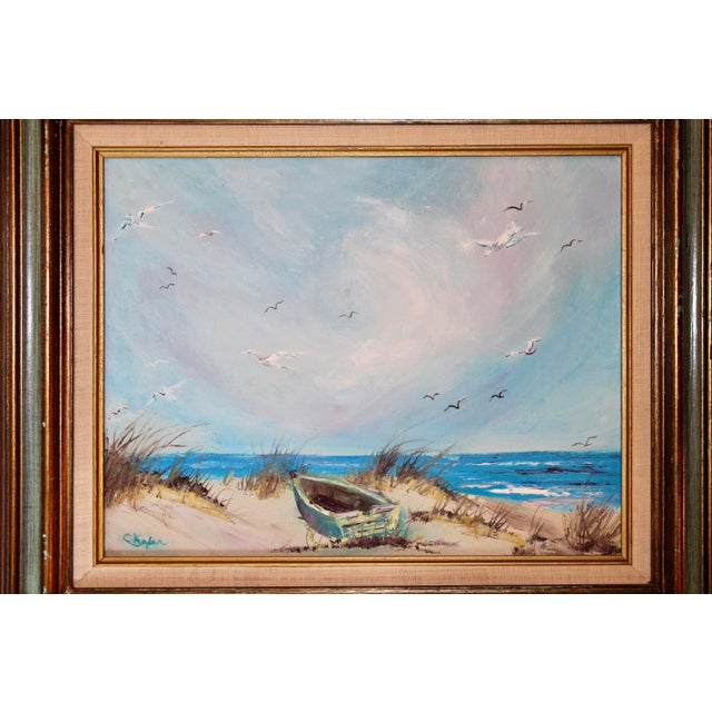 Mid 20th Century Vintage Beach Seascape Original Oil Painting For Sale - Image 5 of 13