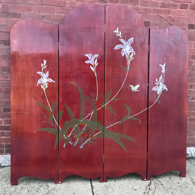1940's Era Vintage Painted Folding Screen For Sale - Image 9 of 11