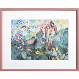Ginny Masters - Flowers Framed Watercolor Painting For Sale