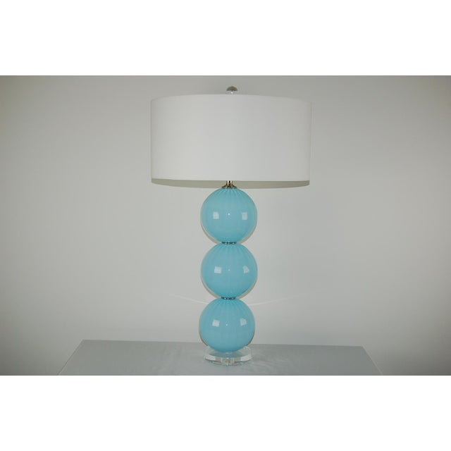 Mid-Century Modern Joe Cariati Glass Ball Table Lamps Blue For Sale - Image 3 of 10