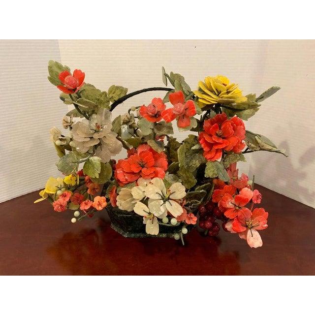 Vintage Chinese Export Hardstone Basket Floral Arrangement For Sale In Atlanta - Image 6 of 13