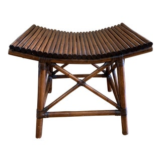 Bamboo Asian Wood Curved Bench For Sale