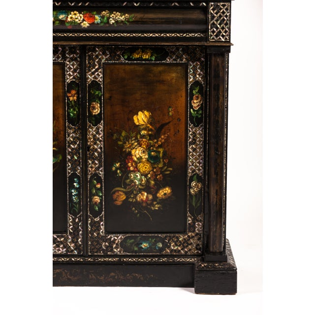 Beautiful 19th-century mother-of-pearl inlaid papier mache cupboard.