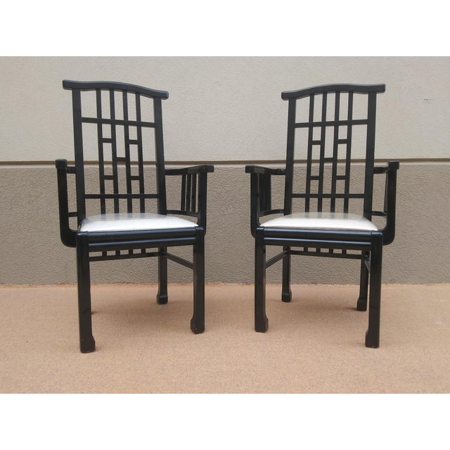 Late 20th Century Charles Rennie Mackintosh Style Black Lacquer Asian Flare Chinese Chippendale Fretwork - Set of 6 Dining Chairs For Sale - Image 5 of 13