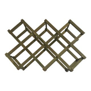 Brass Mid Century Folding Wine Rack Accordion Style For Sale