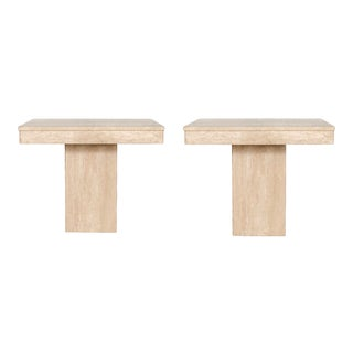 1970s Italian Square Travertine Stone Side Tables – a Pair For Sale