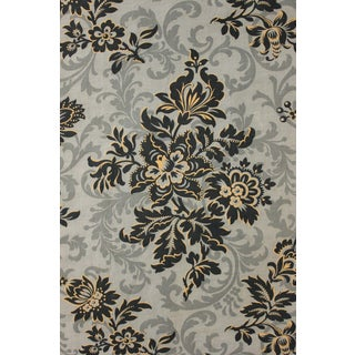 Antique 1890s French Art Nouveau Gray & Black Floral Linen and Cotton Fabric For Sale