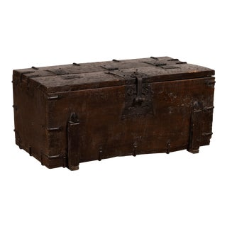 Small Antique Rustic Korean Wooden Trunk with Metal Hardware and Brown Patina For Sale