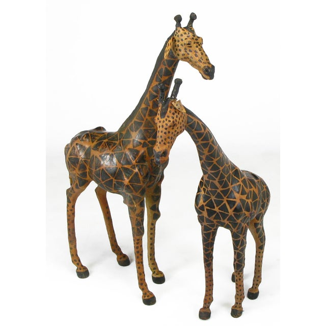 Pair of Leather Giraffe Models - Image 4 of 4