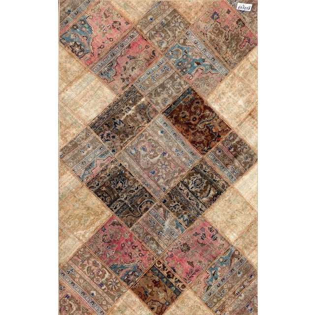 Hand Knotted Patchwork Rug - 4′10″ × 7′8″ - Image 1 of 2