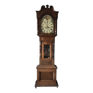 Antique Welsh Grandfather Clock With Moon Phase Dial For Sale