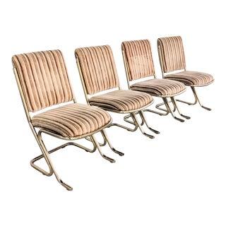 1970s Chromcraft Velvet & Brass Dining Chairs- Set of 4 For Sale