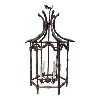 Pagoda Faux Bamboo Chinoiserie Chandelier, Monumental For Sale