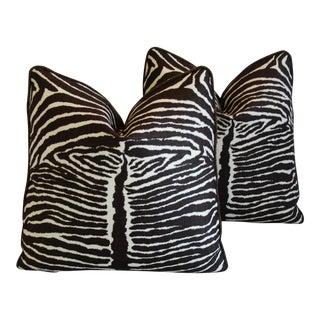 Designer Brunschwig & Fils Zebra & Leather Pillows - A Pair For Sale