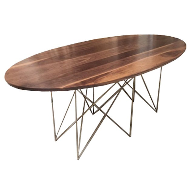 Contemporary McManus Oval Walnut Dining or Conference, Midcentury Inspired with Stainless Steel Gold Powder Coated Base For Sale - Image 3 of 3