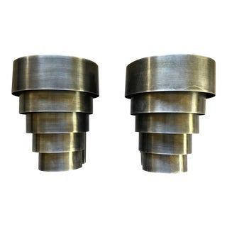 Art Deco Wall Sconces in Antique Nickel Finish - A Pair For Sale