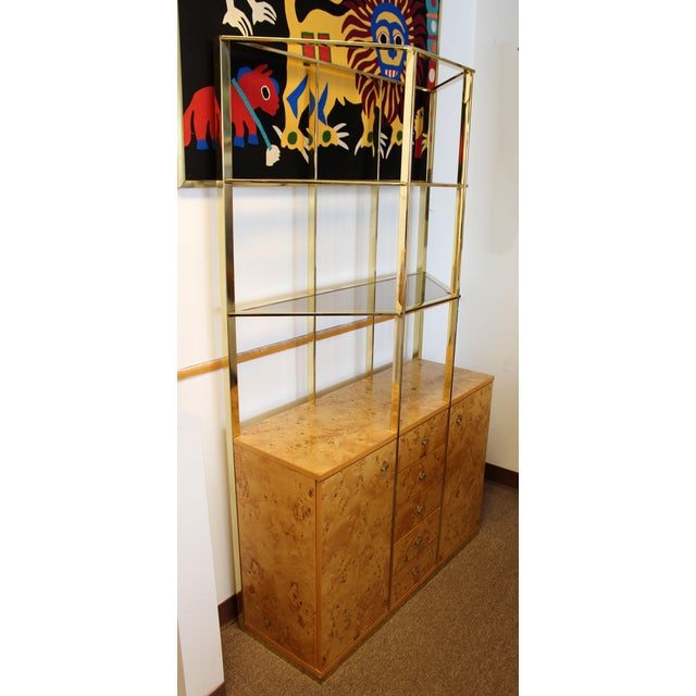Mid Century Modern Milo Baughman Burl Wood Credenza Brass Etagere Glass Shelves For Sale In Detroit - Image 6 of 8