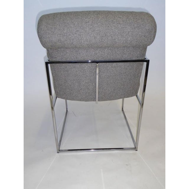 Eight Plush Modern Milo Baughman Thin Line Armed Dining Chairs - Image 7 of 11