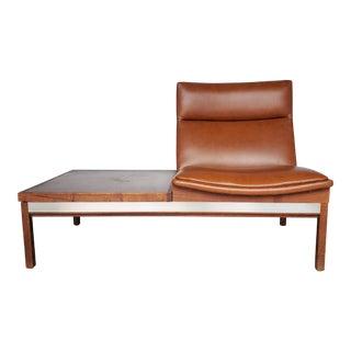 1950s Arthur Umanoff Walnut Modular Sofa for Madison Furniture Camel Seat with Table For Sale