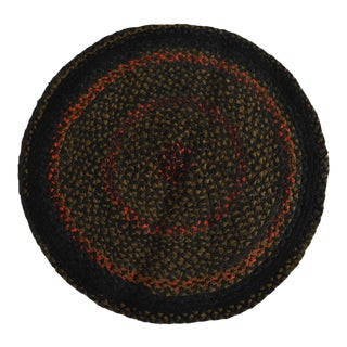 Antique 3' 19th-Century Americana Folk Braided Round Rag Rug For Sale