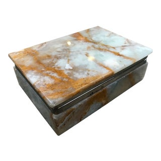 1950s Italian White and Yellow Onyx and Brass Box For Sale