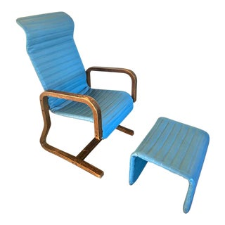 Vintage Thonet Mid-Century Modern Bent Wood Lounge Chair and Ottoman For Sale