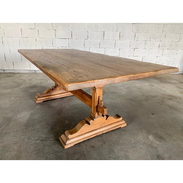 Antique French Farmhouse Solid Oak Wood Trestle Dining Table 19th C. For Sale - Image 13 of 13
