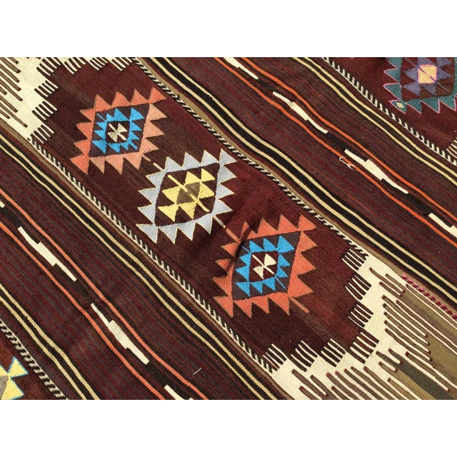 Textile Vintagr Turkish Kilim Rug For Sale - Image 7 of 11