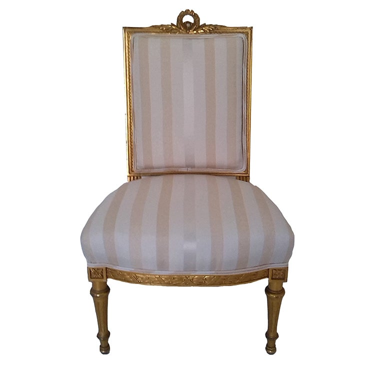 Fine French Antique Louis Xvi Upholstered Antique Gilt