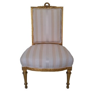 French Louis XVI Upholstered Antique Gilt Wood Side Chair For Sale