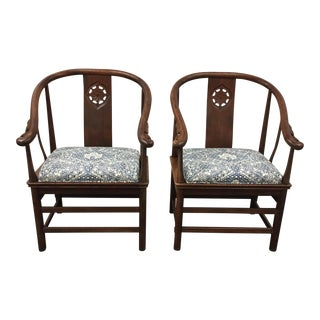 Vintage Chinese Horseshoe Chairs - A Pair