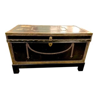 Early 19th Century Regency Leather Clad Campaign Chest For Sale