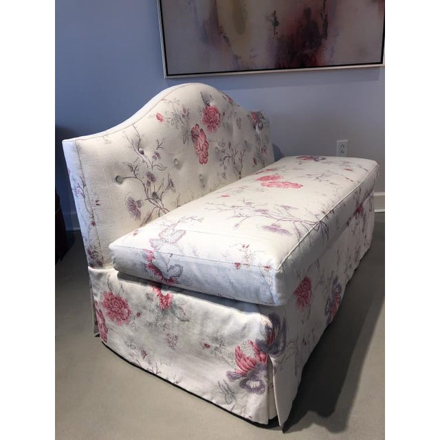 Transitional Charlotte Moss for Century Furniture Patti Skirted Settee For Sale - Image 3 of 5