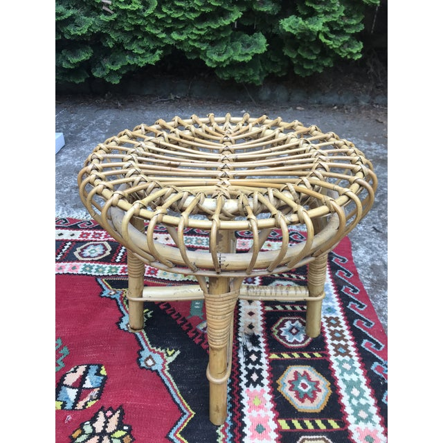 Boho Chic Mid Century Rattan Ottoman Foot Stool Style of Franco Albini For Sale - Image 3 of 6