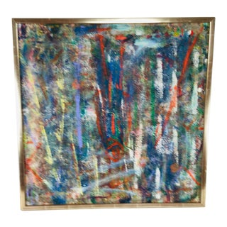 Mid-Century Abstract Oil Painting on Canvas For Sale