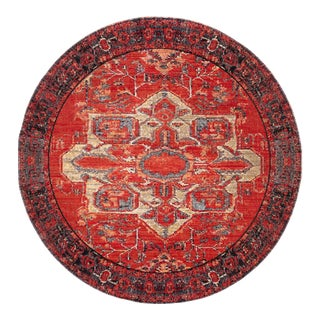 """Jaipur Living Leighton Indoor Outdoor Medallion Red Blue Round Area Rug 7'10""""X7'10"""" For Sale"""