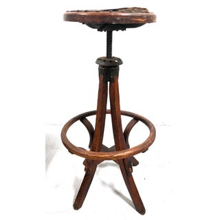 Antique Architectural Industrial Oak Drafting Stool Preview