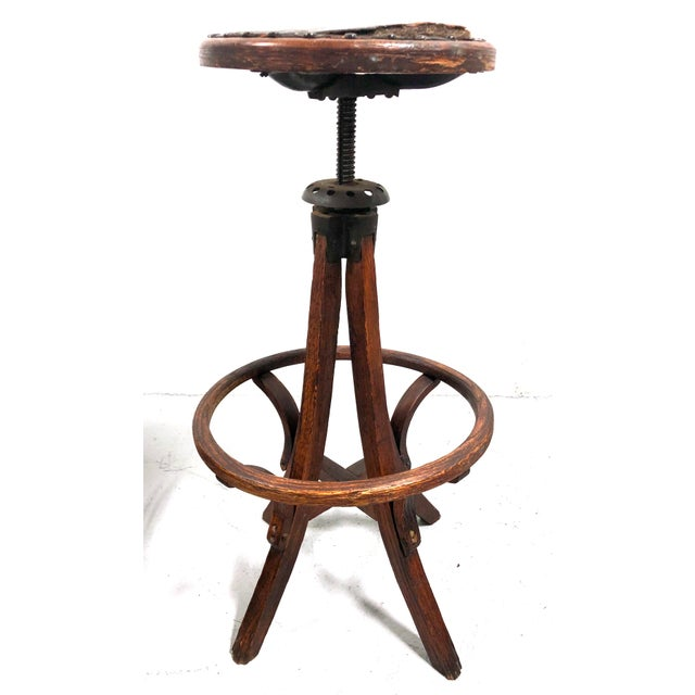 Patina galore! Incredible age and character is present in this turn of the century architect's adjustable drafting stool...