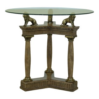 Maitland Smith Round Glass Top Center Table With Solid Brass Lions For Sale