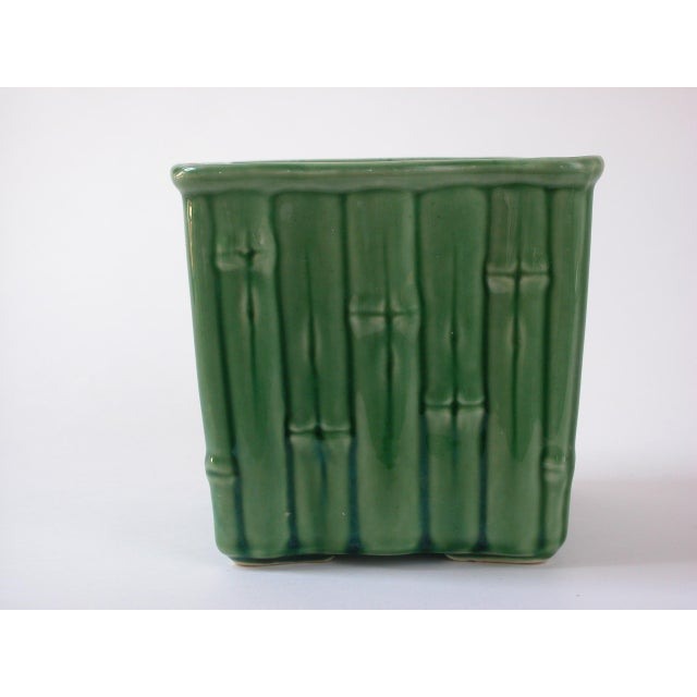 Green Ceramic Bamboo Planter For Sale - Image 4 of 7