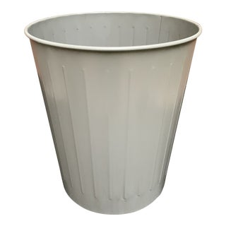 Mid-Century Industrial Metal Wastebasket For Sale