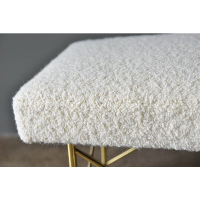 1970s Ivory Bouclé and Brass X-Base Ottoman Bench For Sale - Image 11 of 12