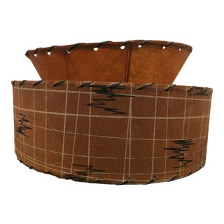 Vintage Mid-Century Modern Two-Tier Drum Lamp Shade For Sale