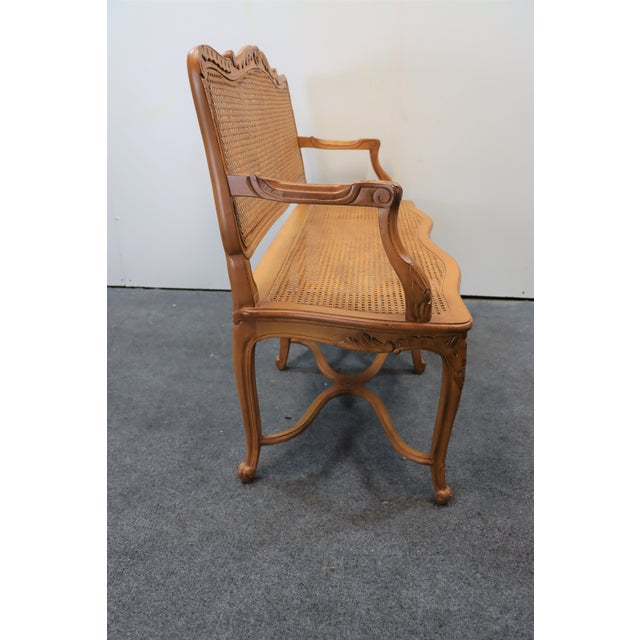 French Louis XV Style Walnut and Caned Settee For Sale - Image 3 of 8